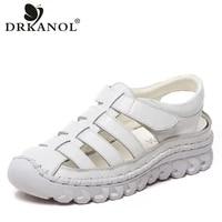 drkanol 2021 flat sandals women summer shoes handmade genuine leather gladiator sandals women casual platform sandals sandalias