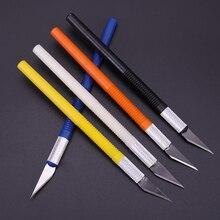 6 lames en plastique poignée Scalpel lame couteau bois coupe papier artisanat stylo gravure découpe fournitures bricolage papeterie utilitaire couteau