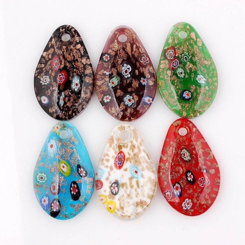 الجملة 6 قطعة اليدوية مورانو الزجاج مزيج لون الزهور قطرة قلادة صالح قلادة مجوهرات هدايا