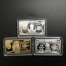 3 pcs The USD 5 100 500 United States dollars ingot 24k real gold silver plated 50 mm x 28 mm souvenir decoration bullion bar