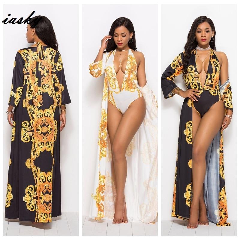 IASKY Retro print deep V neck one piece swimsuit+ beach cover ups set 2019 New sexy women swimwear bathing suit &cover up 2PCS/S