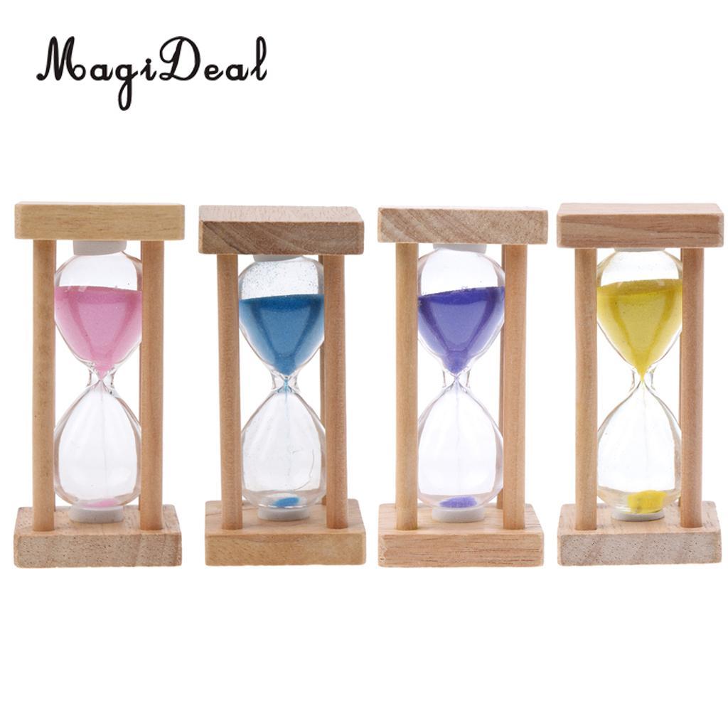 MagiDeal 5 minutos marco cuadrado de madera, reloj de arena, reloj temporizador de arena, 4 colores, gran regalo para decoración de hogar, cafetería y oficina