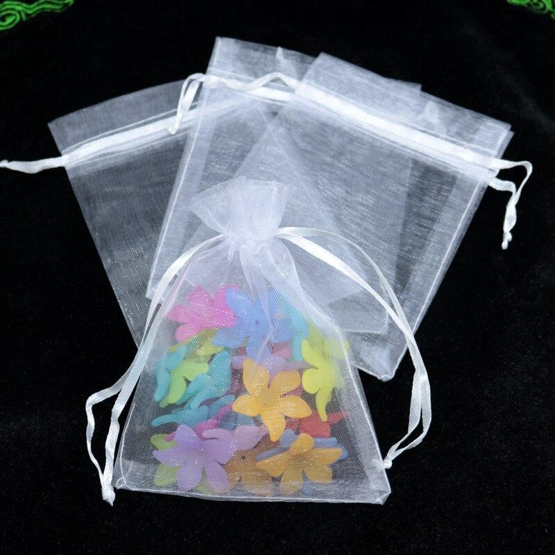 100 pcs 5x7 cm pequeno sacos do presente de organza cor Branca Bolsas com cordão de Casamento Sacos de Cordão de Presente de Natal