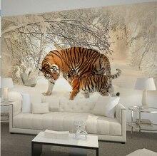 Papier peint mural papel de paréo   Décoration de maison, sur tigers en hiver, forêt de neige, papier peint mural pour autocollant de salon et de chambre à coucher