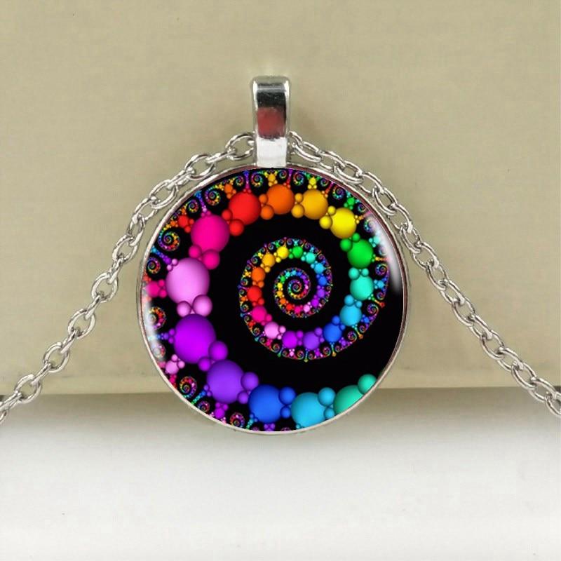 Colgante en espiral collares fractales colgantes de floración swirls collar de cúpula de vidrio Geometría Sagrada arte imagen joyería