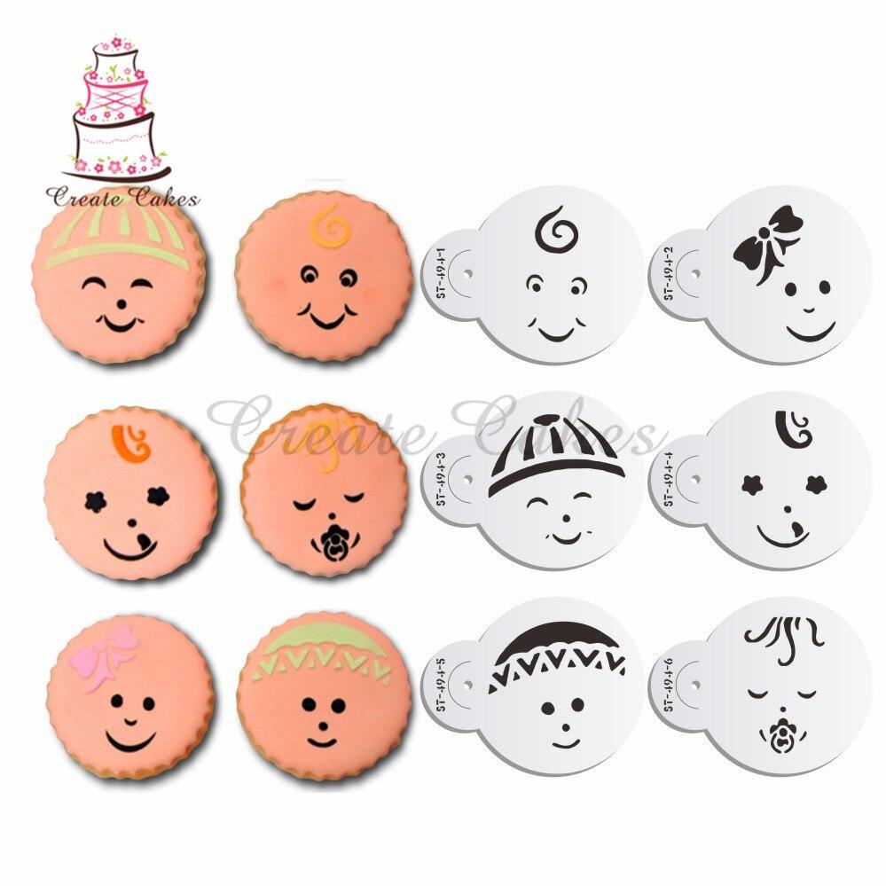 Детские лица украшения трафарет для печенья и кекса украшения помадки торт пластиковые трафареты шаблон формы инструменты для выпечки