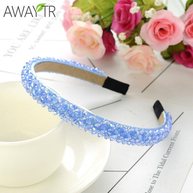 1pc feminino faixa de cabelo artesanal grânulo strass cabeça de cristal faixa de argola de cabelo completo cristal bandana acessórios para cabelo para meninas