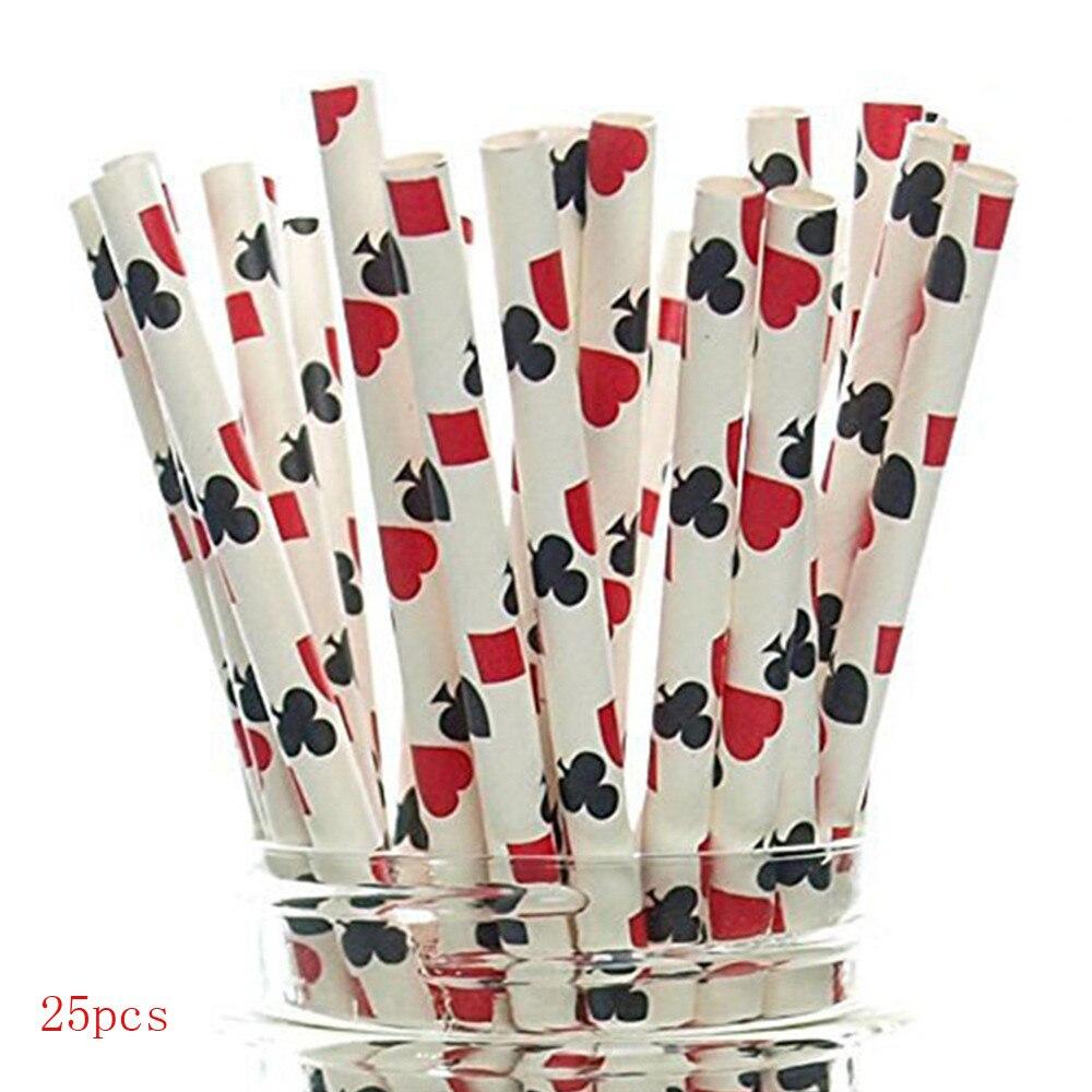 25 uds. Pajillas degradables de papel Kraft con diseño de tubo de succión de póker para fiesta, Baby, boda, ducha, decoración, regalo, fiesta, evento supi