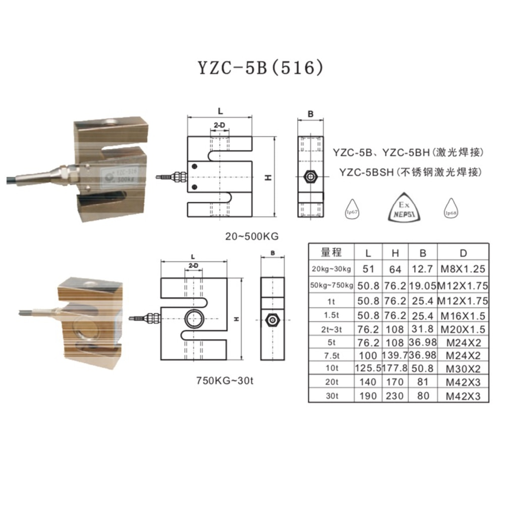 YZC-516 2T Load Cell S Beam Structure Electronic Pressure Scale Weighing Sensor enlarge