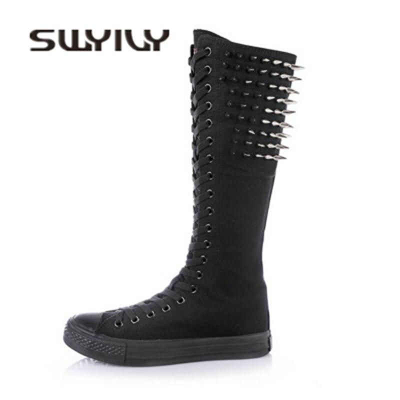 SWYIVY alta zapatillas de lona mujer remache 2018 otoño zapatos casuales de Mujer Zapatos porque jugar alto botas de lona con cremallera lateral zapatos 43