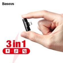 Baseus 3 in 1 Audio Adapter Voor iPhone Xs Max Xr X Oortelefoon Connector OTG Kabel Voor iPhone 8 7 plus Opladen/Muziek/Call Adapter