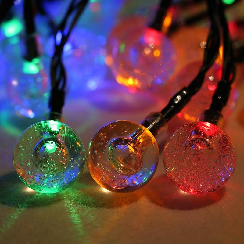 6 M 30 LED Bola De Cristal Bolha Luz Movido A Energia Solar Lâmpada de Fadas Do Casamento Do Feriado de Ano Novo Decoração Da Árvore de Natal À Prova D Água String