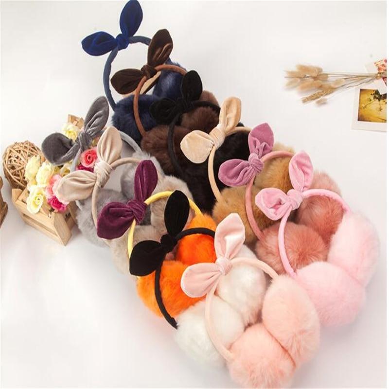 VISNXGI Fashion Winter Comfort Earmuffs Warm Earmuffs Women Girls 2018 New Lovely Rabbit Fur Adult Earmuffs Ear Cache Oreilles
