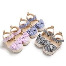 Bebek plaj ayakkabısı kız yaz pamuk tuval şerit desen kaymaz ayakkabı ilmek rahat yenidoğan bebek kız ayakkabı