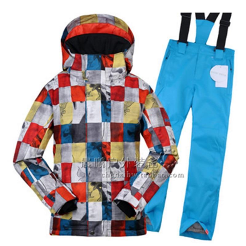Nuevo conjunto de chaqueta de esquí para niños + pantalón de snowboard ropa térmica de invierno para niños rompevientos transpirable traje de nieve
