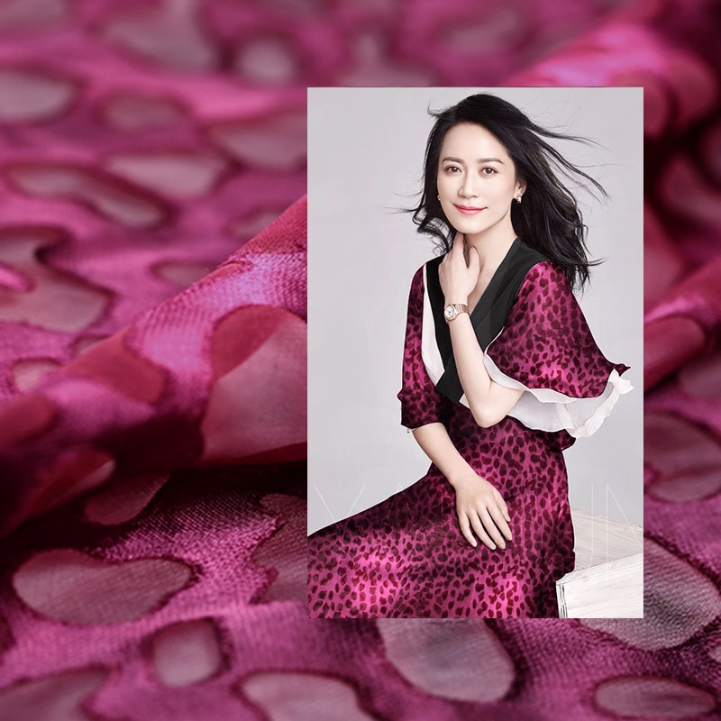 110CM de ancho 14MM púrpura seda roja y rayón Burnout seda de primavera y verano vestido ropa tela E351