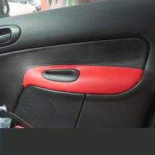 Couvercle de protection en cuir décoratif   Plaque de porte pour Peugeot 206 207 /Citroen C2 Z2EA1026 4 pièces/ensemble
