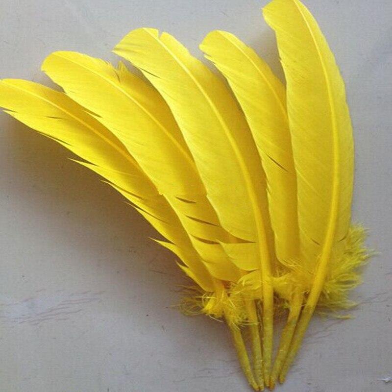 Frete grátis 25 50pcs atacado-30 cm amarelo cor real natural turquia penas plumas extensões de cabelo de penas de ganso para venda