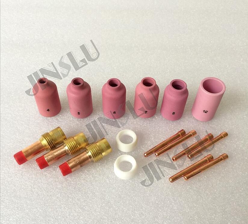 Lentille de gaz de consommables de soudage TIG, buse en céramique, pince de tungstène, isolant pour WP-17 WP-18 torche de soudage tig WP-26