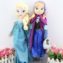 Good Quality 50cm Snow Queen Fro-zen Elsa And Anna Princess Aisha Plush Toy Doll Lovely Girl Christm
