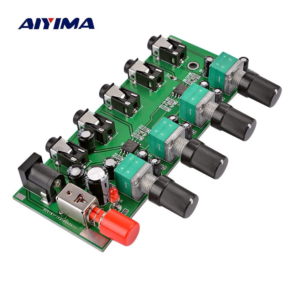 AIYIMA 4 способа стерео аудио миксер плата Привод Усилитель для наушников смешивающая плата DIY NJM3414 четыре входа один выход