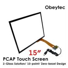"Obeytec 15 ""Pannello di Tocco Capacitivo, USB/ I2C Porta, 10 Tocchi, P-CAP, 43, per display LCD monitor"