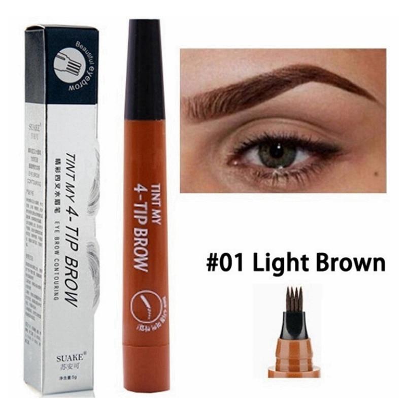 Lápiz de cejas barato de 4 colores, impermeable, punta de horquilla, lápiz para tatuaje de cejas, larga duración, profesional, boceto fino, líquido, lápiz para cejas
