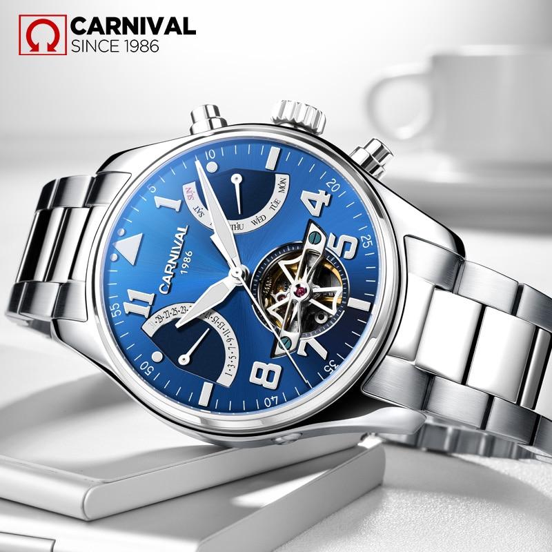 Karnawał Skeleton Sandblast mechaniczny zegarek męski wodoodporny Luminous Tourbillion ze stali nierdzewnej Montre TopBrand Luxury relogio
