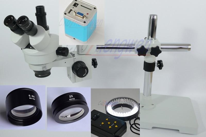 FYSCOPE 3.5X-90X! Single Boom Stand Trinocular Stereo Zoom Microscope Digital Microscope +1080P VGA camera +64pcs LED 4zone  led