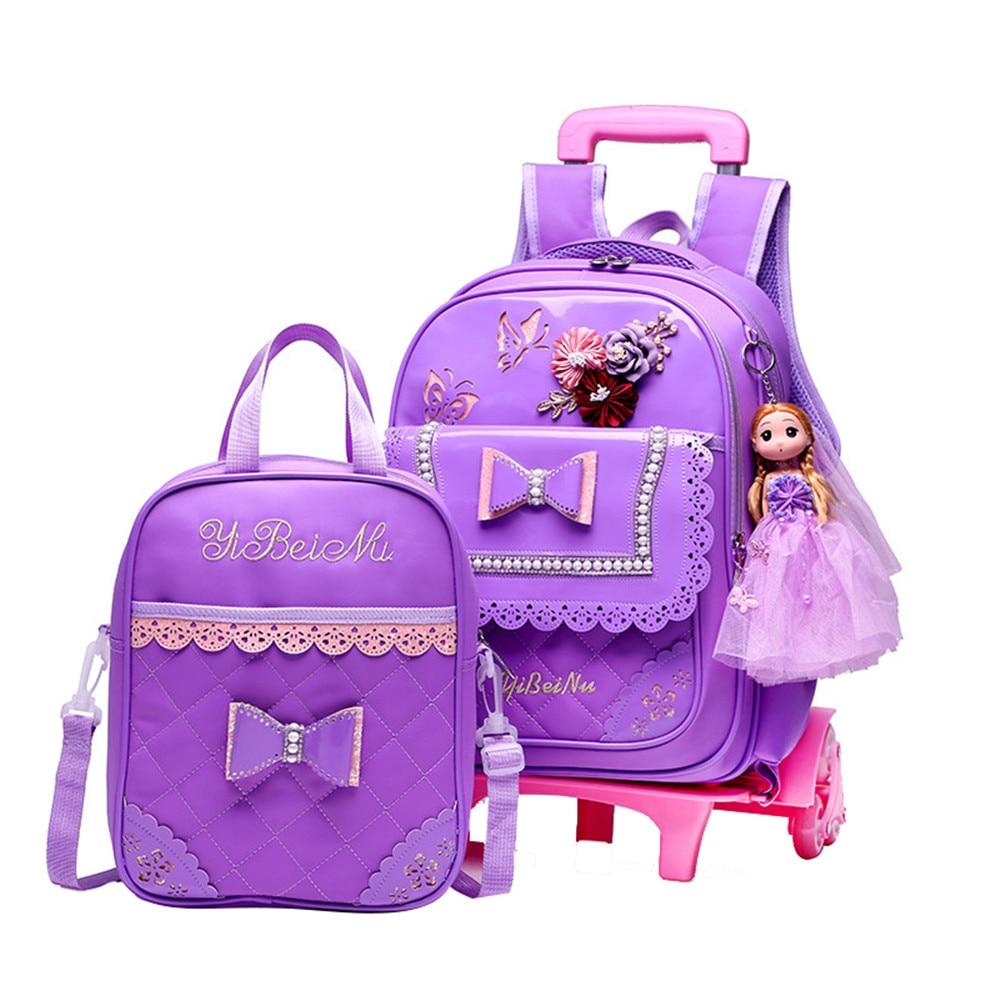Mochilas escolares extraíbles para niños impermeables para niñas, mochilas con ruedas moradas, mochilas de viaje para niños