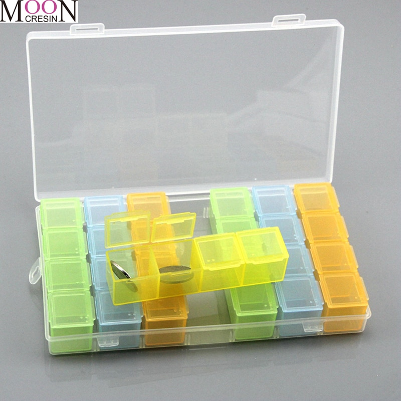 MOONCRESIN 28 Grids Guitar Picks Box Clear Plastic Storage Box For Guitar Plectrum Guitar Accessories Diamond Painting Tools Box