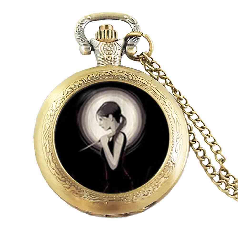 Steampunk 2017 New Buffy The Vampire Necklace Slayer Pocket Watch Jewelry Glass Photo Pocket Watch Necklace Women Men Gift Chain
