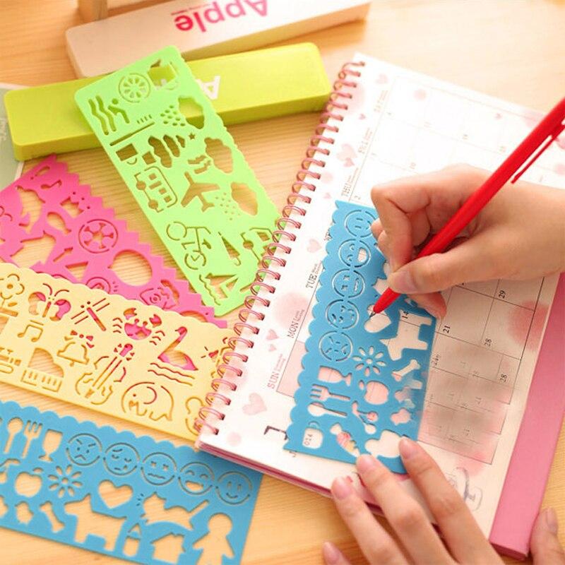 4 unids/lote Corea Color caramelo regla Plantilla de dibujo lindo arte gráficos símbolos reglas de chico juguete para regalo papelería suministros