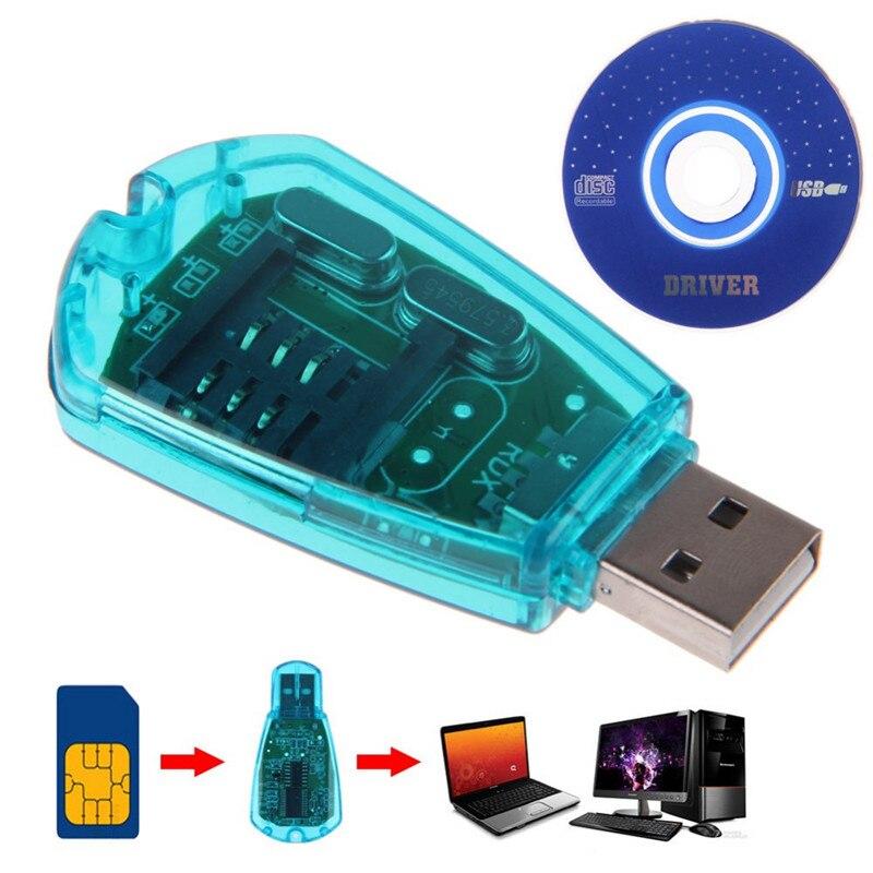 SIANCS de alta velocidad 1 Uds portátil azul USB teléfono móvil lector de tarjetas SIM GSM CDMA + CD teléfono móvil SMS de copia de seguridad para PC