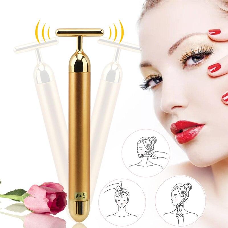 V-face que slimming a pele 24k ouro que vibra a barra da beleza facial pulso que endurece a massagem do rolo facial elevador da pele que aperta a vara do enrugamento