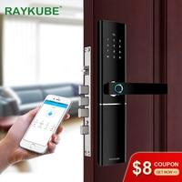 RAYKUBE FPC Fingerprint Smart Door Lock Intelligent Electronic Lock Fingerprint Verification With Password Card APP Unlock R-FK1