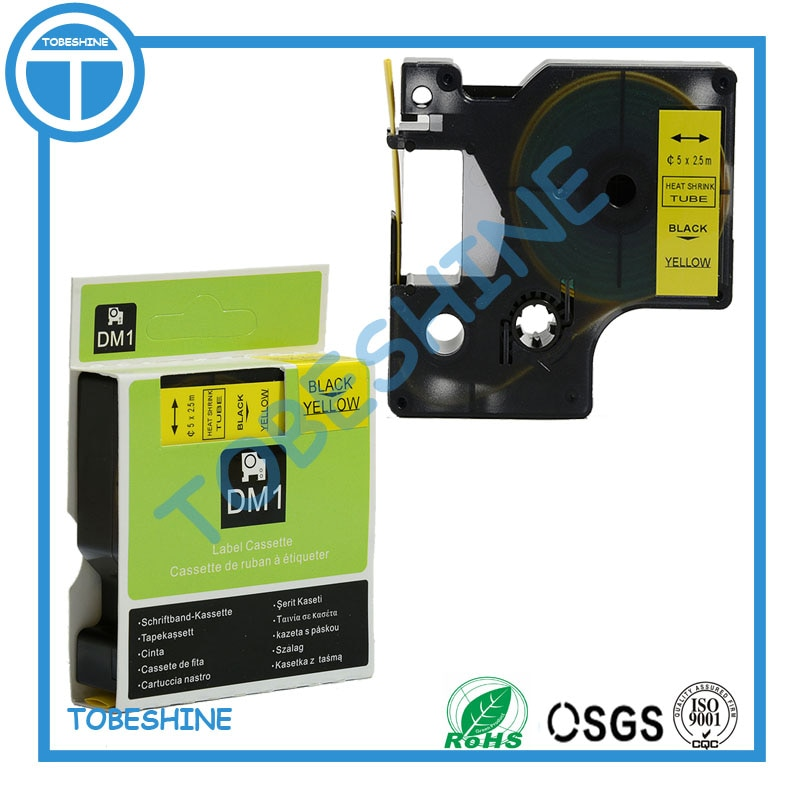 Envío gratis 3 PK negro mezclado en amarillo 2,5 m DYMO Rhino cinta de Tubo termorretráctil RS3.5Y RS5Y RS7Y para impresora dymo Rhino 6000 etc