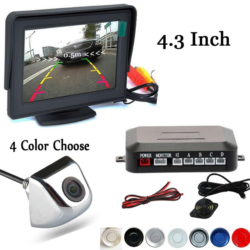 Capteurs de stationnement CCD Dual Core   4.3 pouces, moniteur de rétroviseur de voiture, caméra arrière inversée, assistance, Radar de sauvegarde, système dalarme
