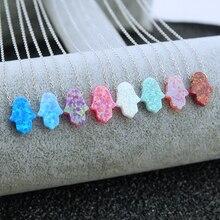 Arabisch Blau Hamsa Hand Opal Anhänger Fatima Hand Halskette 925 Silber Frauen Choker Halskette Schmuck Collier Femme Choker Bijoux