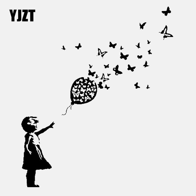 YJZT 13,7 CM * 16,4 CM Banksy chica globo con mariposas coche vinilo adhesivo para ventana calcomanía negro/plata C24-0207
