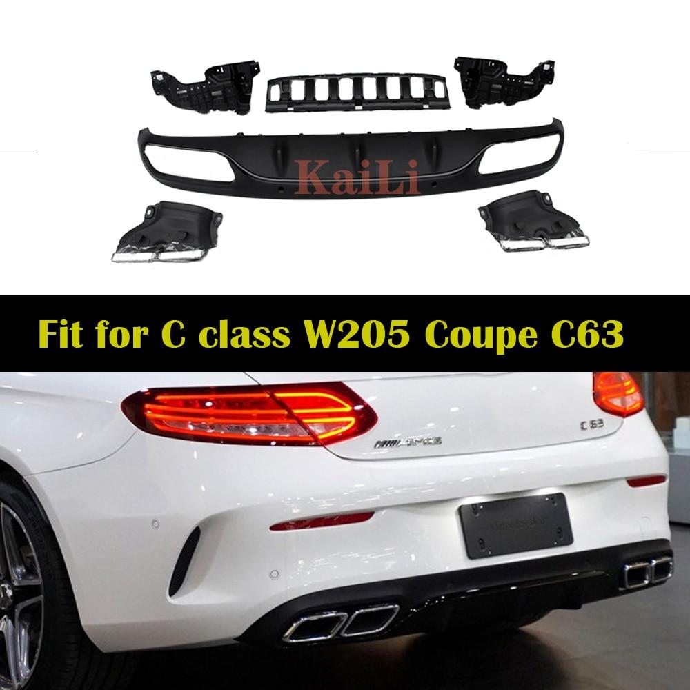 W205 para difusor de parachoques trasero labio para Benz A205 C205 con paquete de 2015 + coupé Cabriolet C180 C250 C300 C350
