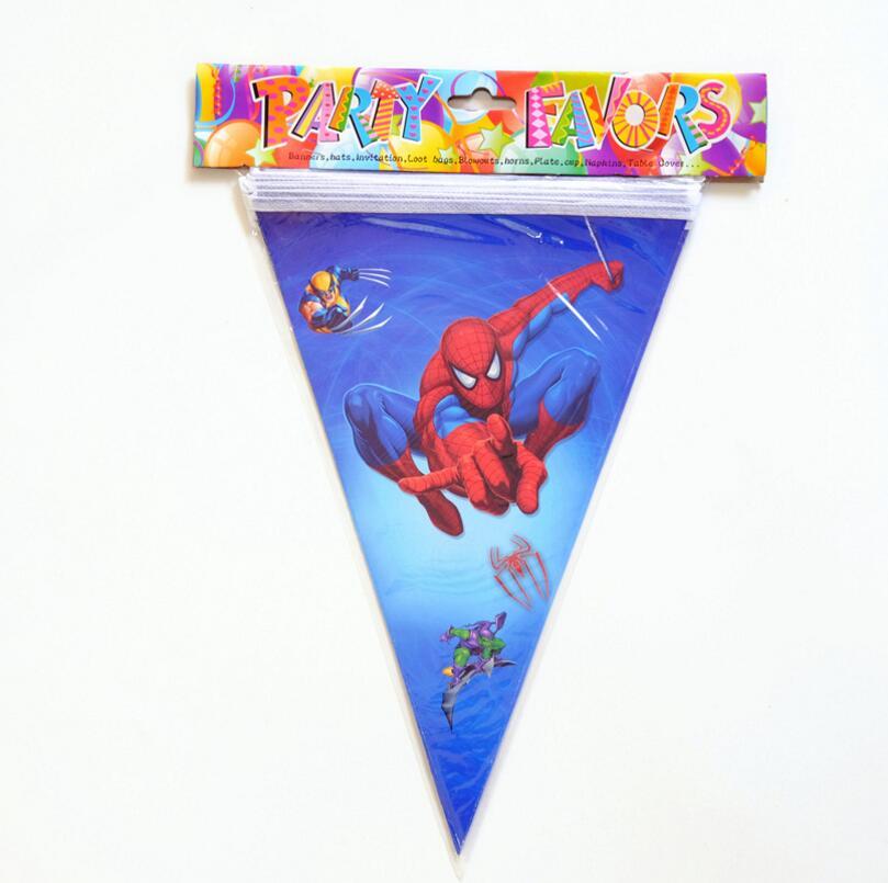 10 шт./лот, баннер с изображением Человека-паука и флага, тематическая вечеринка для детей/мальчиков, украшение на день рождения
