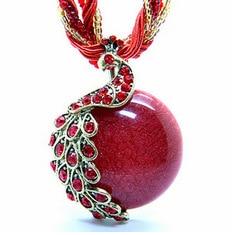 Joyería de la vendimia collar con colgante Bohemia Cristal cadena multicapa Phoenix Pavo Real collar de ópalo de estilo hecho a mano collar Retro