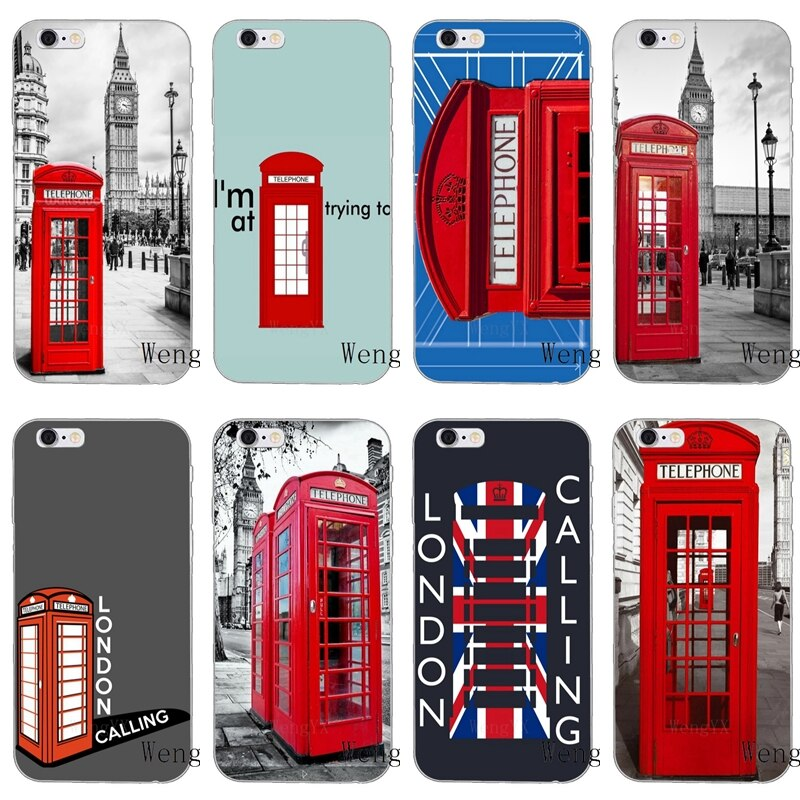 Cabina de teléfono roja caja del teléfono Londres Slim funda de teléfono suave para samsung galaxy s3, S4 y S5 S6 S7 borde S8 S9 Plus mini Note 3 4 5 8