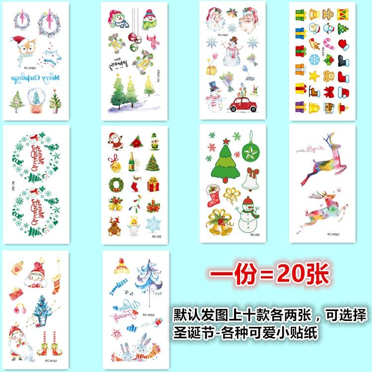 20 pçs impermeável tatuagens temporárias etiqueta papai noel elk árvore de natal pequeno padrão falso tatuagem