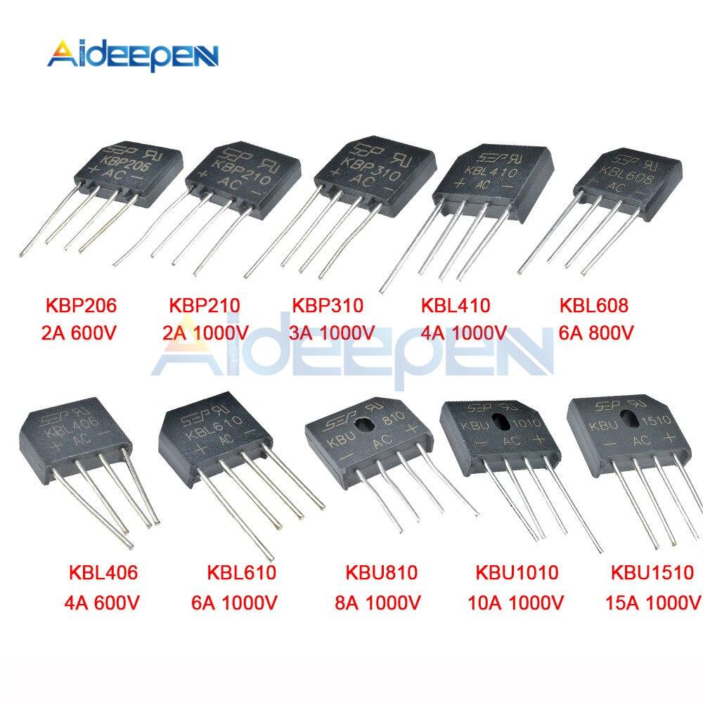 5 uds 2A 3A 4A 6A 8A 10A 15A 600V 800V 1000V Puente rectificador de diodo KBP206 210 310 KBL406 410, 608 de 610 KBU810 1010 nuevo 1510
