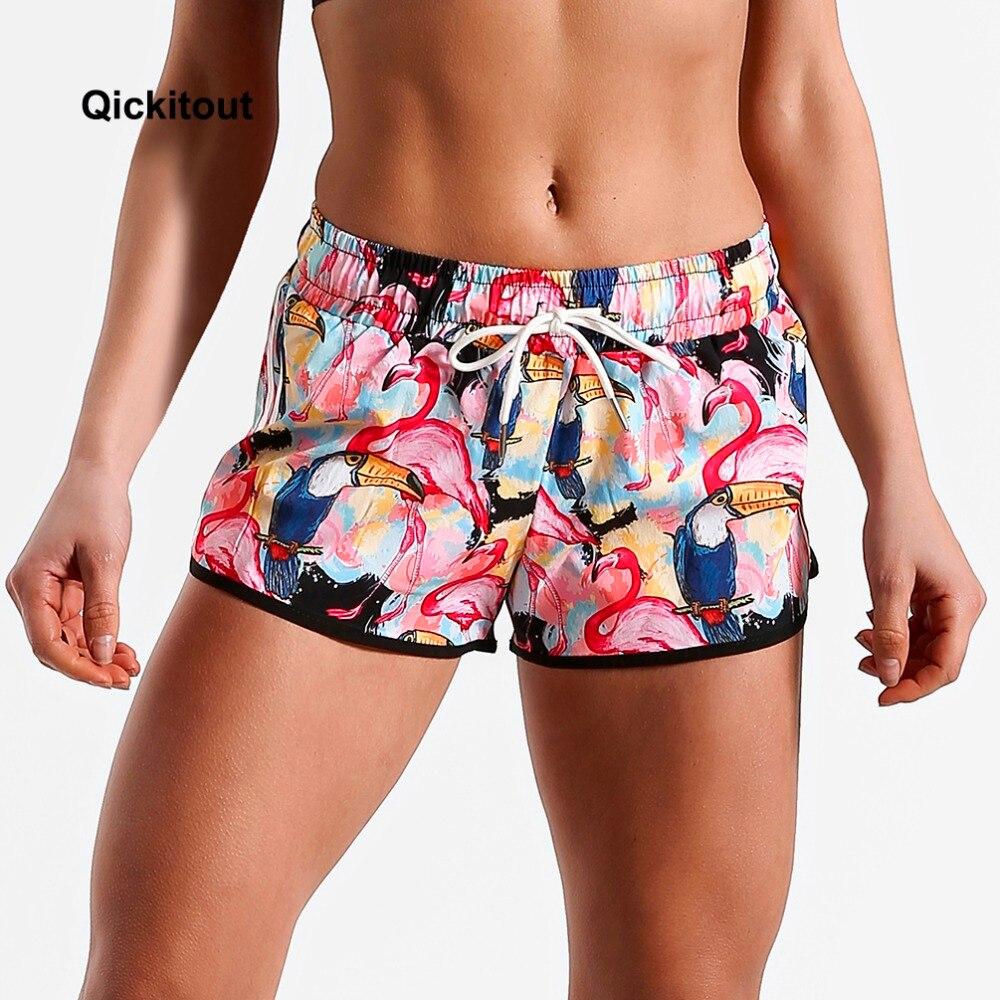Qickitout mulheres verão magro praia shorts casuais treino cintura magro flamingo animal rosa impressão digital shorts XS-XL