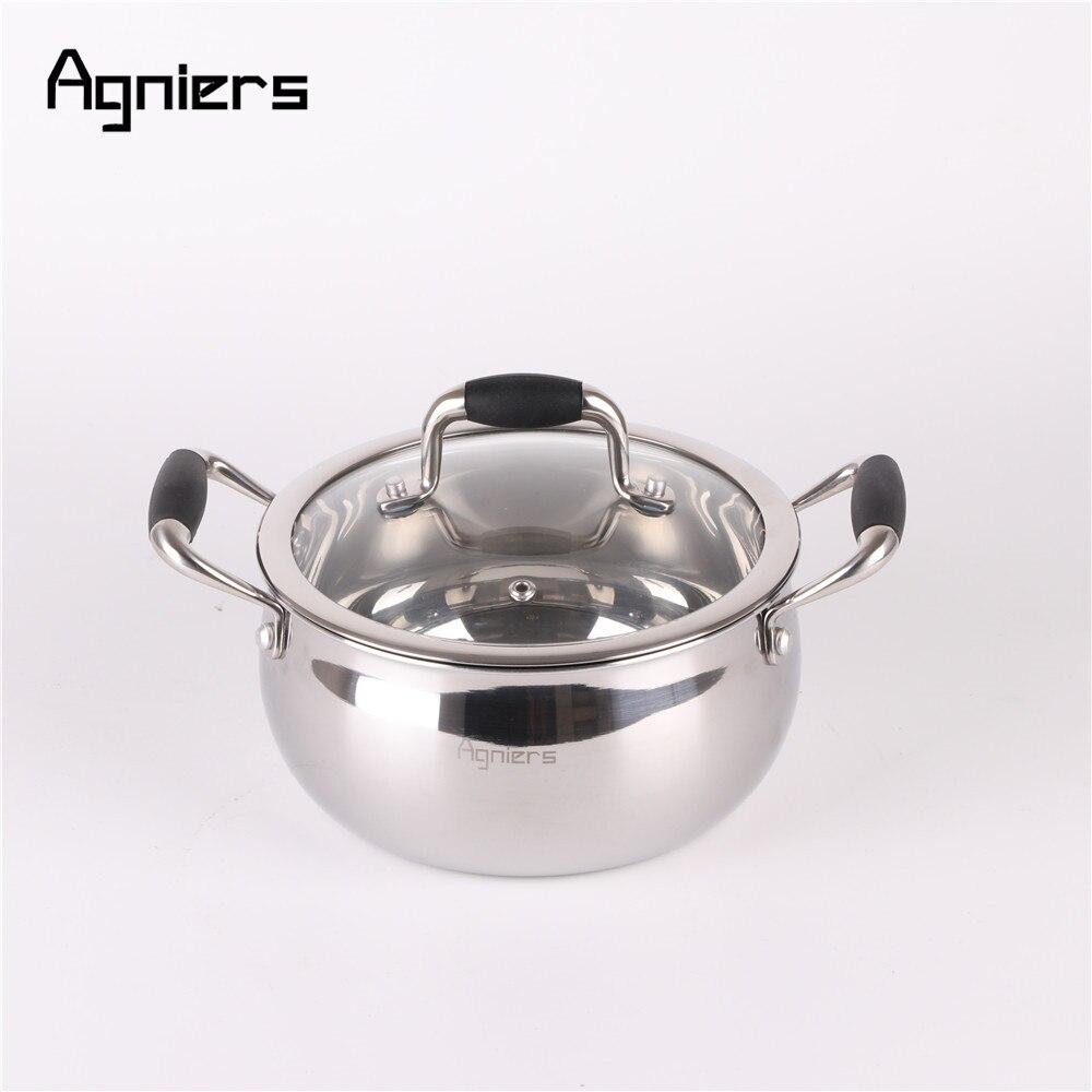 Agniers 18 cm dos manejar olla Multi-capas de acero inoxidable revestido de SoupPot con tapa de vidrio de utensilios de cocina