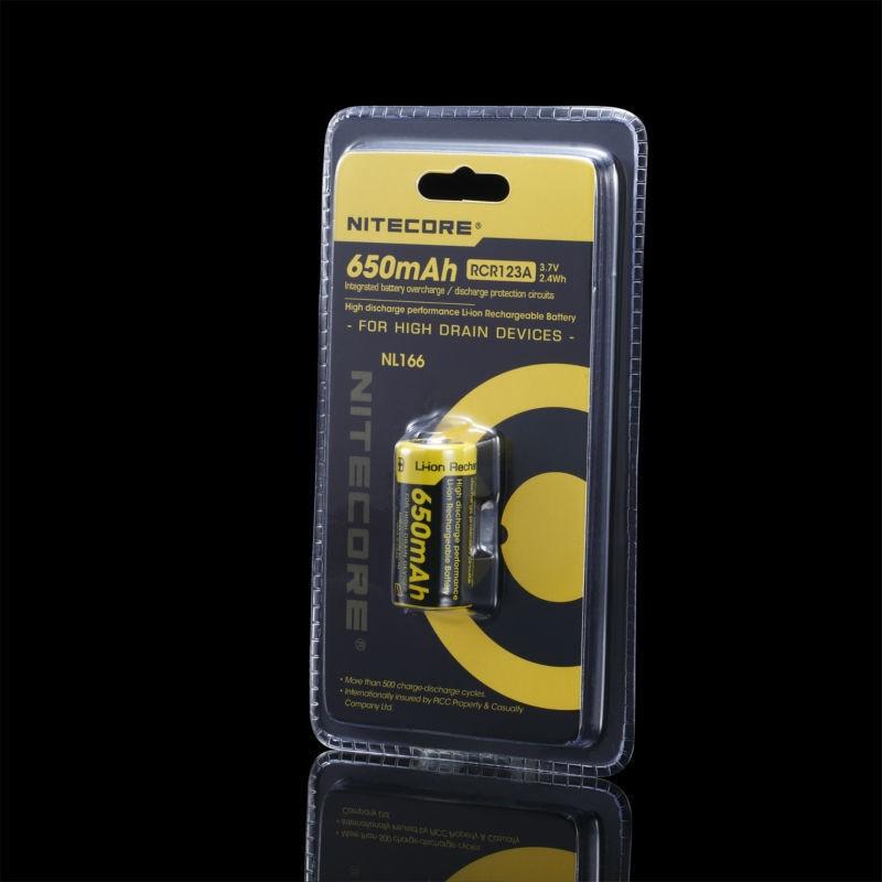 Nitecore NL166 16340 RCR123A 3,7 V 2.4Wh 650 мАч литиевая аккумуляторная батарея, бесплатная доставка