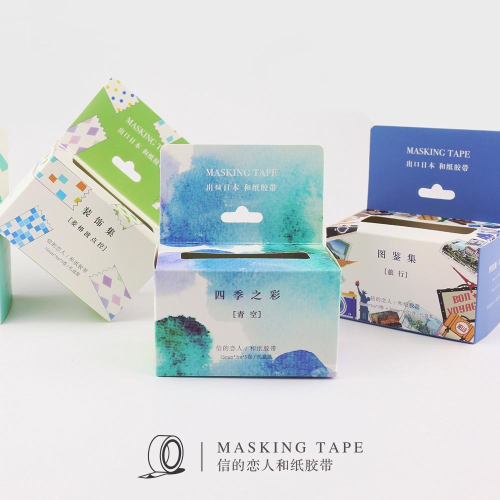5 Rolls/set Masking Tape Nice Japanese Washi Tape 15mmx3m Decorative Tape for DIY Planner Diary Bullet Journal Scrapbook